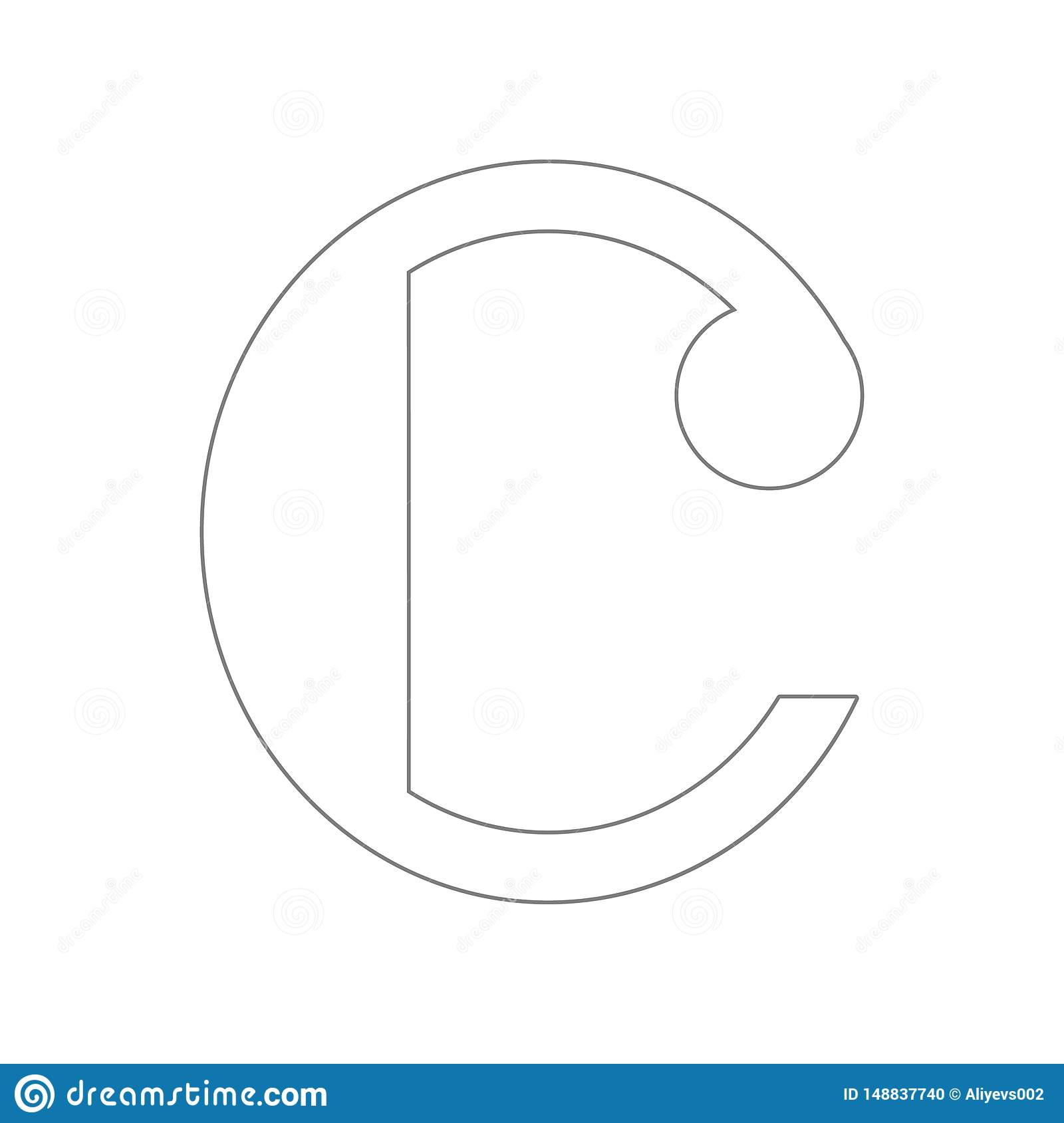 Isolated musical note, Common time icon. Element of web for mobile concept and web apps icon. Outline, thin line icon for website