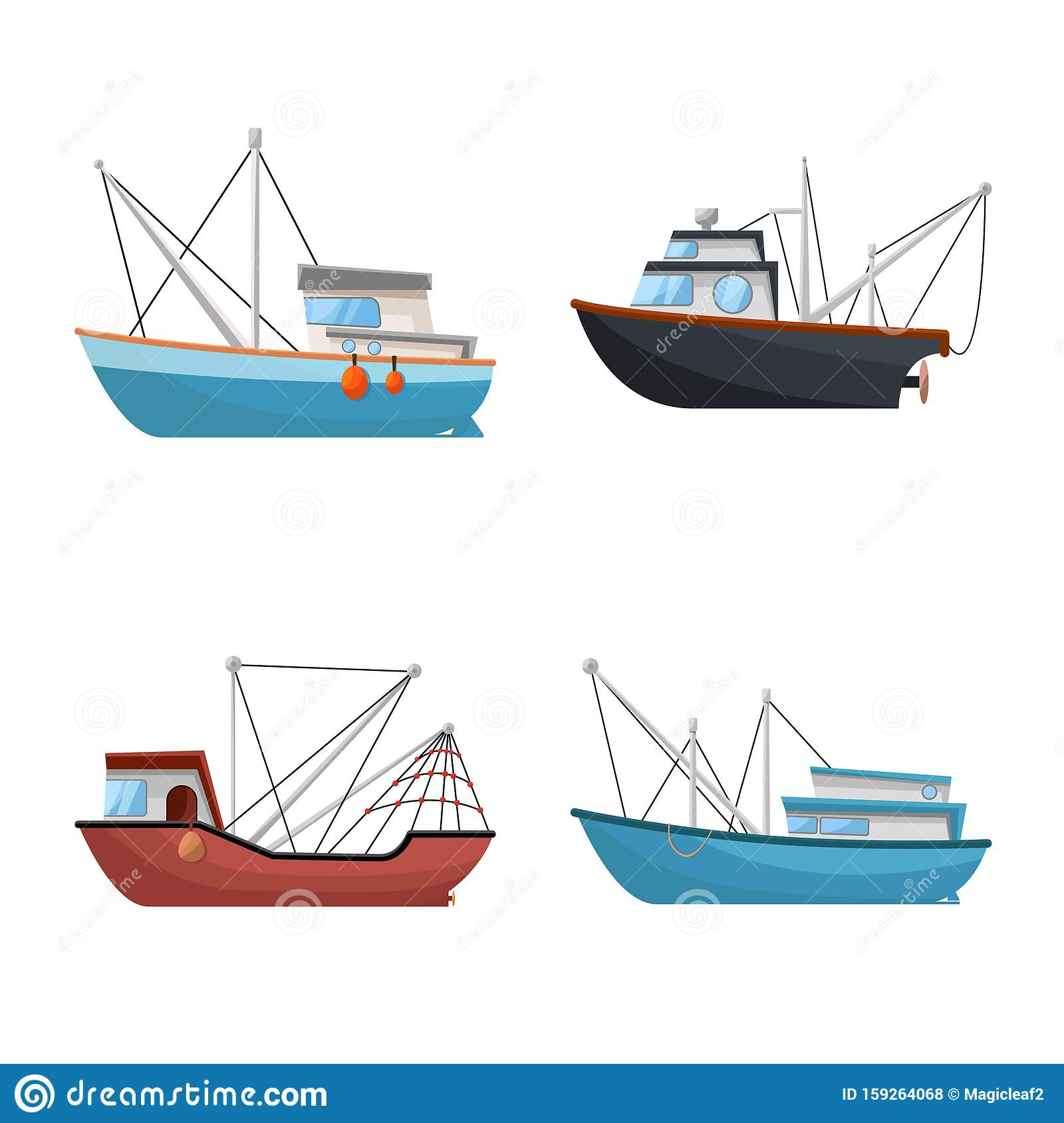 Isolated Object Of Boat And Fishing Icon Collection Of Boat And Vessel Stock Vector Illustration Stock Vector Illustration Of Towboat Sign 159264068