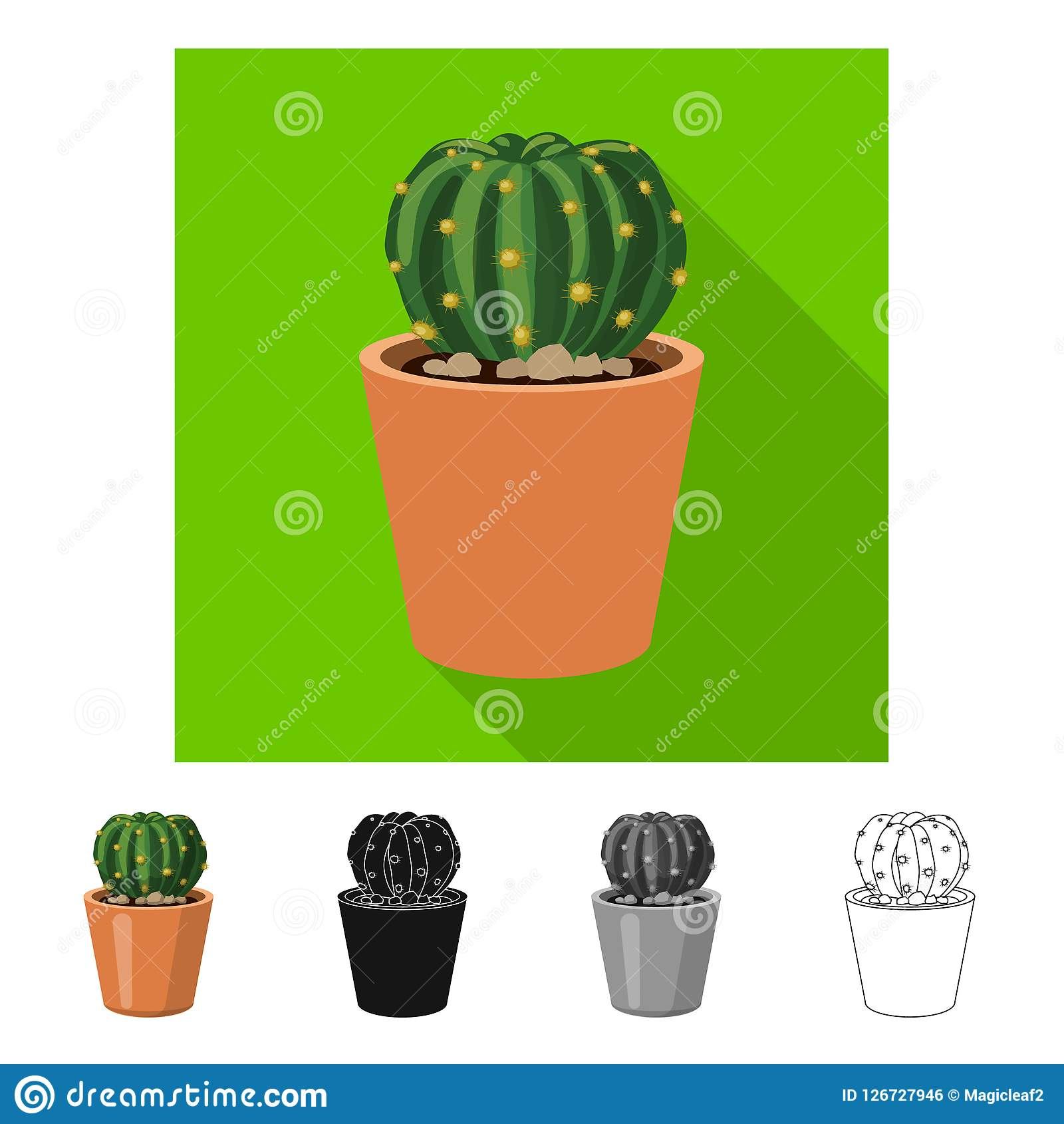 Isolated Object Of Cactus And Pot Logo Set Of Cactus And Cacti
