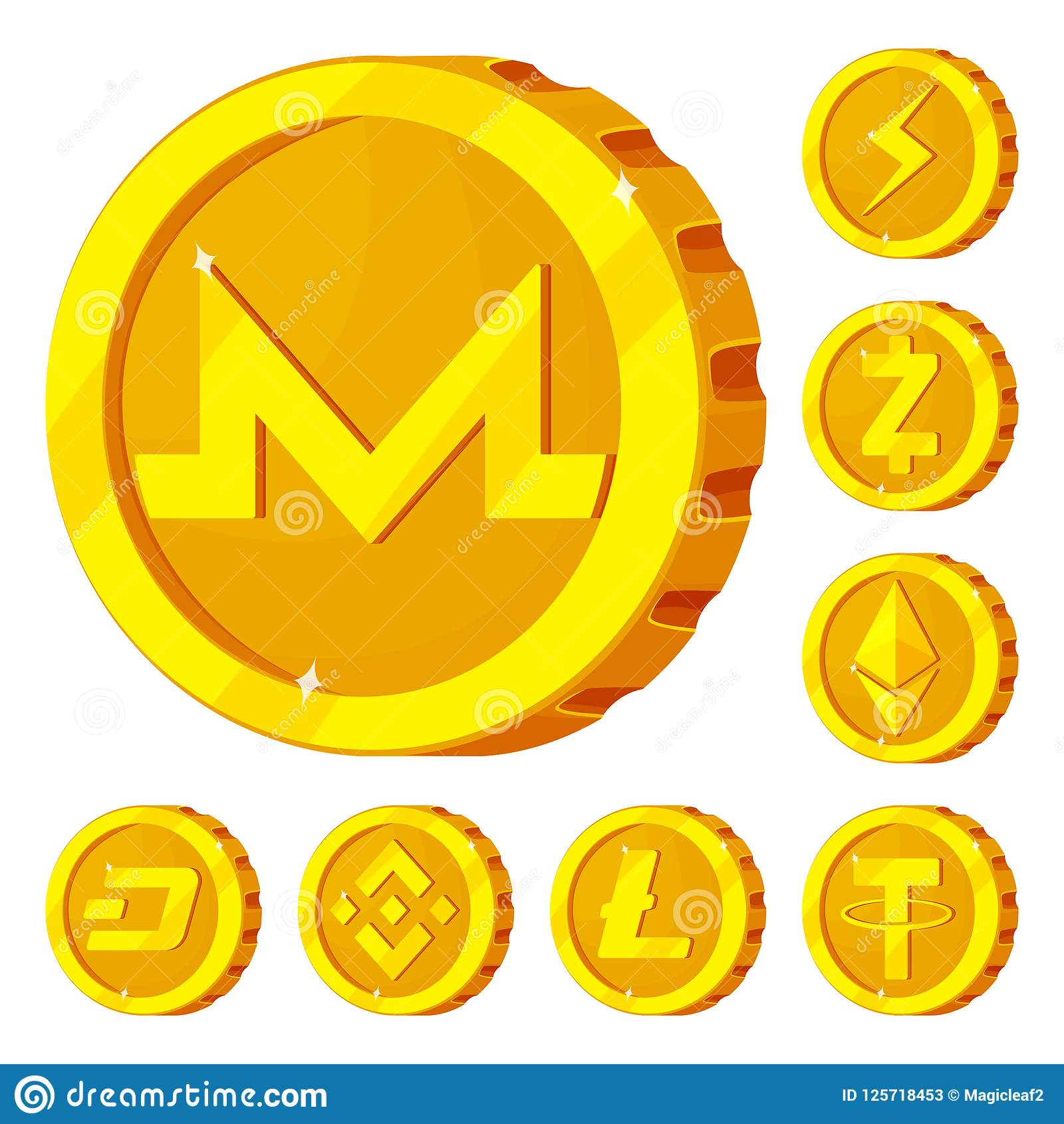 Vector Illustration Of Cryptocurrency And Coin Logo Collection Of