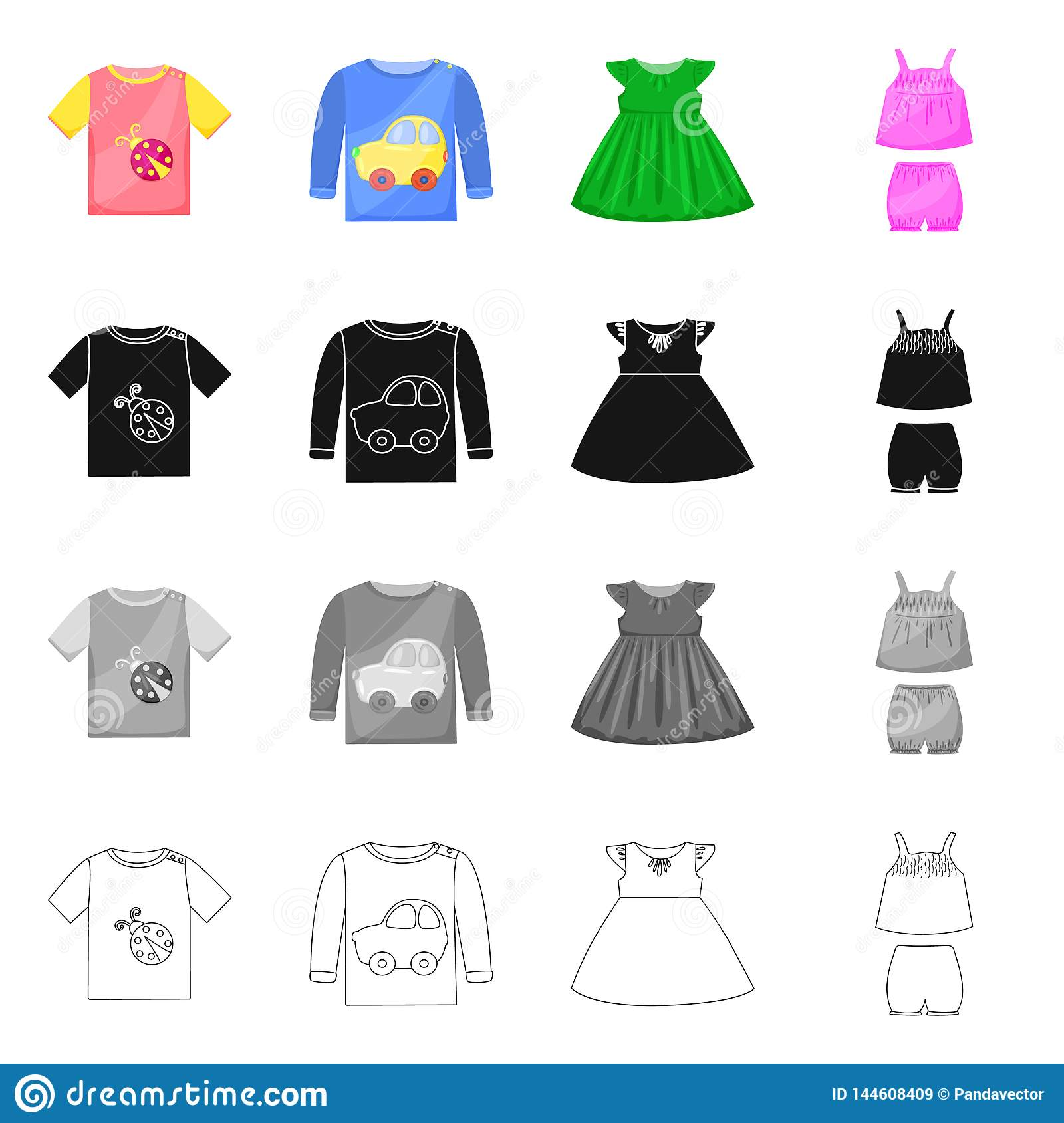 Isolated Object Of Fashion And Garment Icon Collection Of Fashion And Cotton Stock Vector Illustration Stock Vector Illustration Of Garment Childhood 144608409