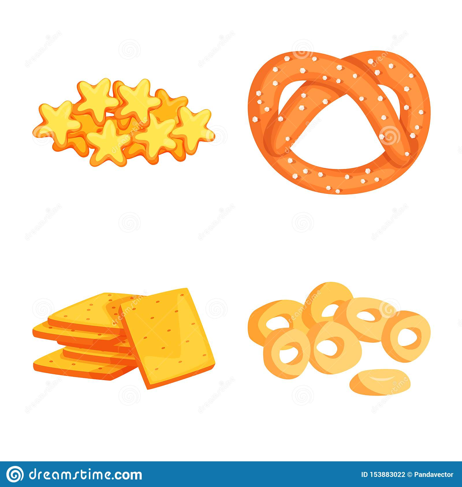 Isolated object of food and crunchy sign. Set of food and flavor stock symbol for web.
