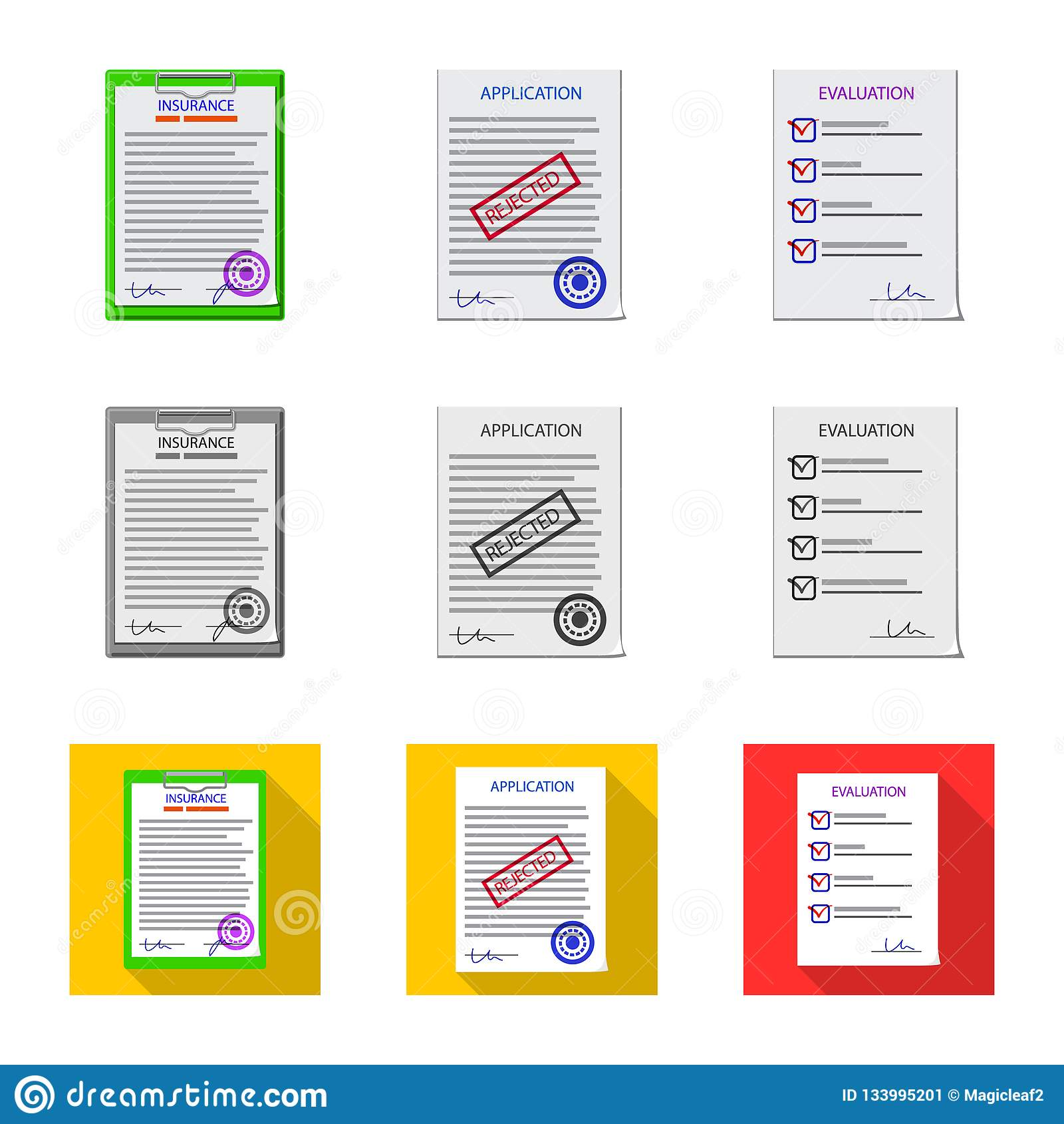 Vector Illustration Of Form And Document Icon  Set Of Form And Mark