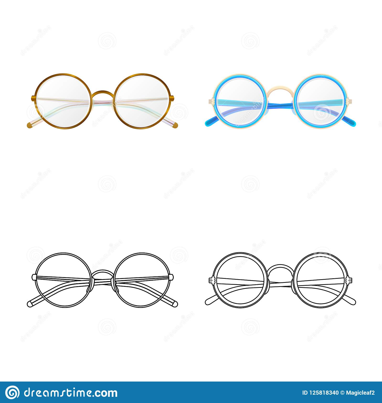 Isolated Object Of Glasses And Frame Sign. Set Of Glasses And ...