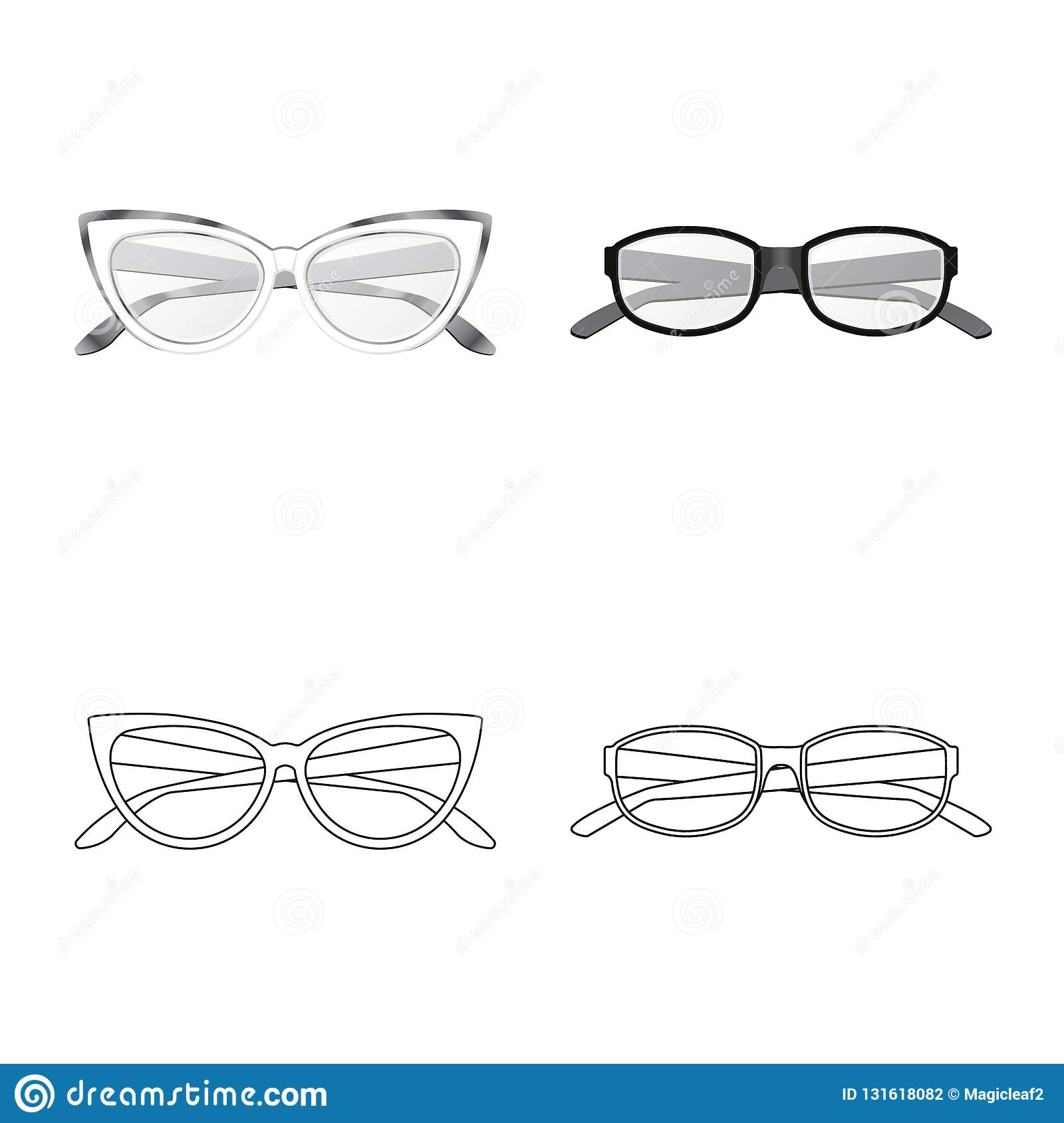 Isolated Object Of Glasses And Frame Symbol. Set Of Glasses And ...