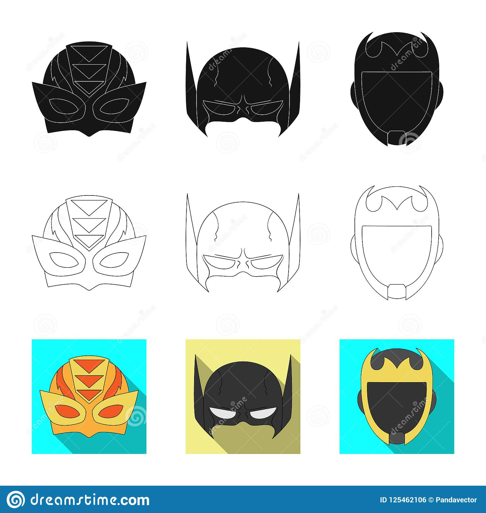 Isolated Object Of Hero And Mask Sign Collection Of Hero And