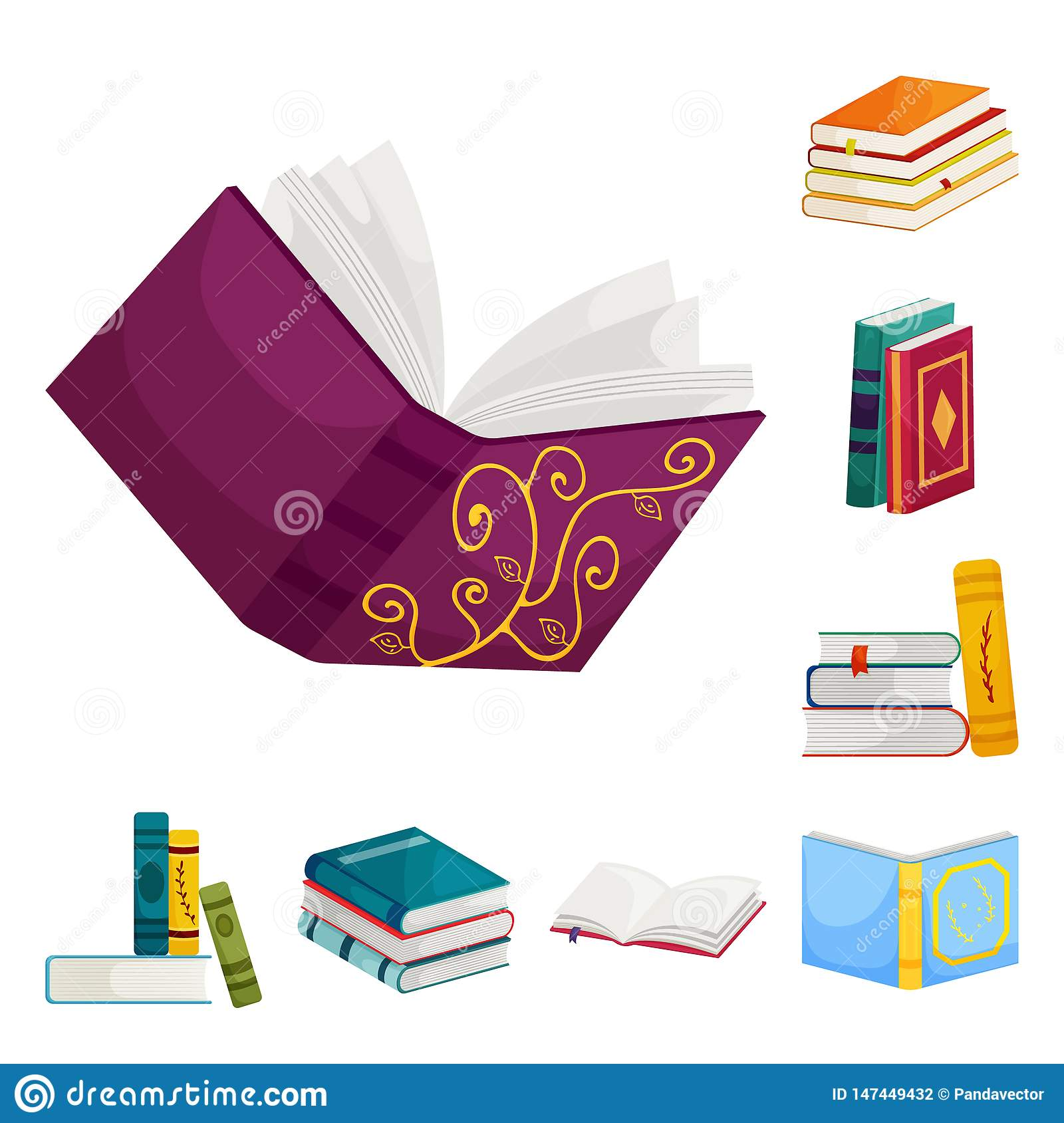 Vector illustration of library and bookstore  icon. Collection of library and literature  vector icon for stock.