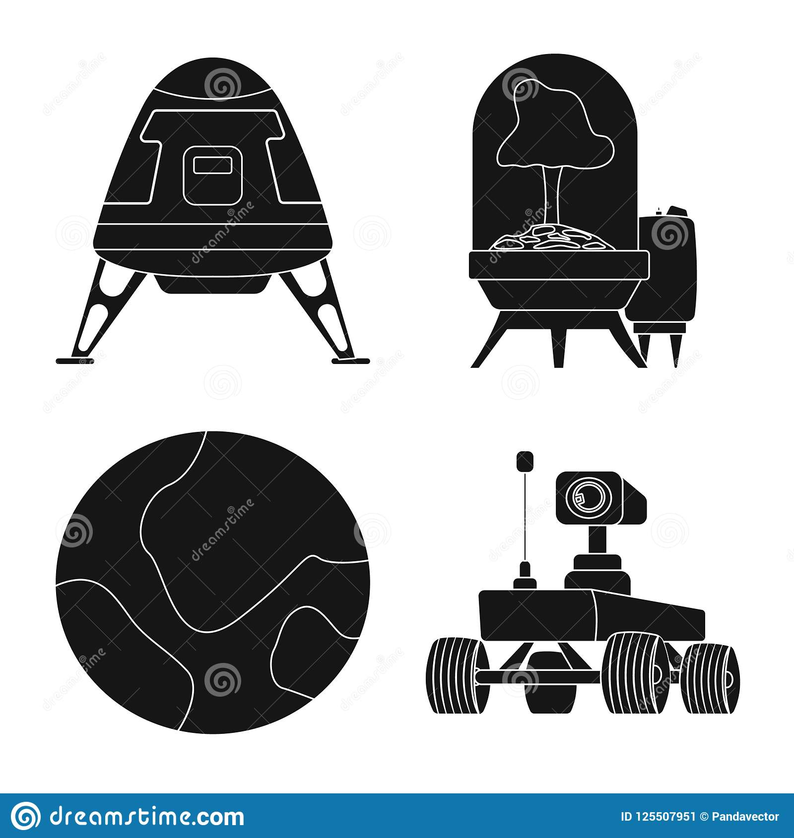 Vector Illustration Of Mars And Space Icon Set Of Mars And Planet
