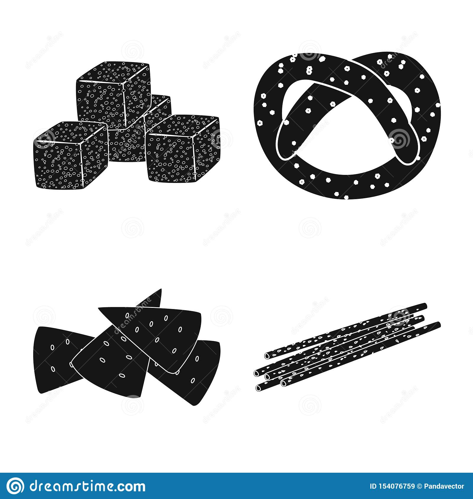 Isolated object of party and cooking sign. Set of party and crunchy stock symbol for web.