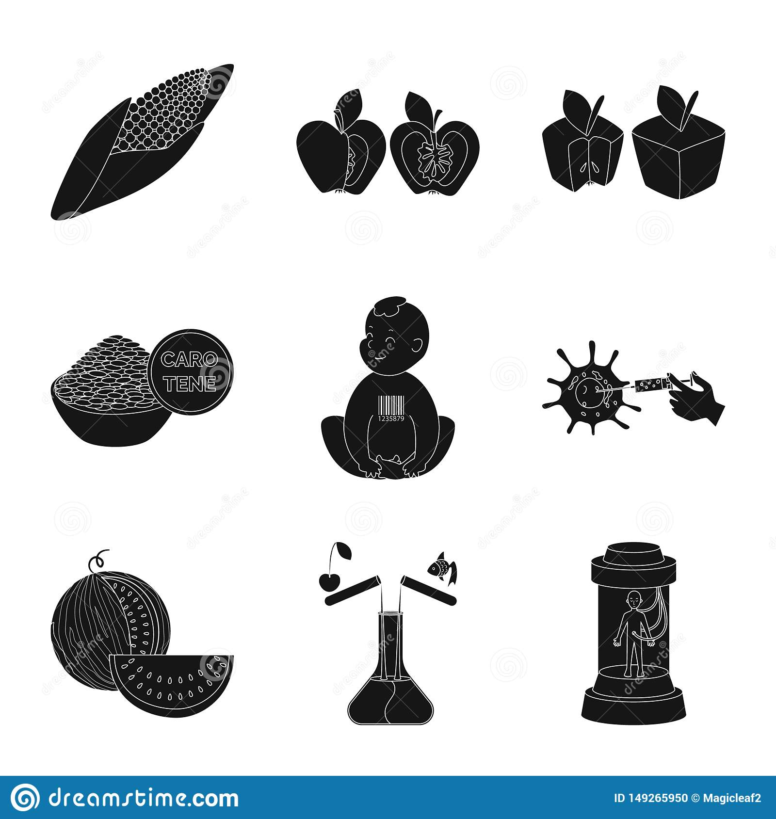 Isolated object of quality and laboratory icon. Set of quality and genetically stock vector illustration.
