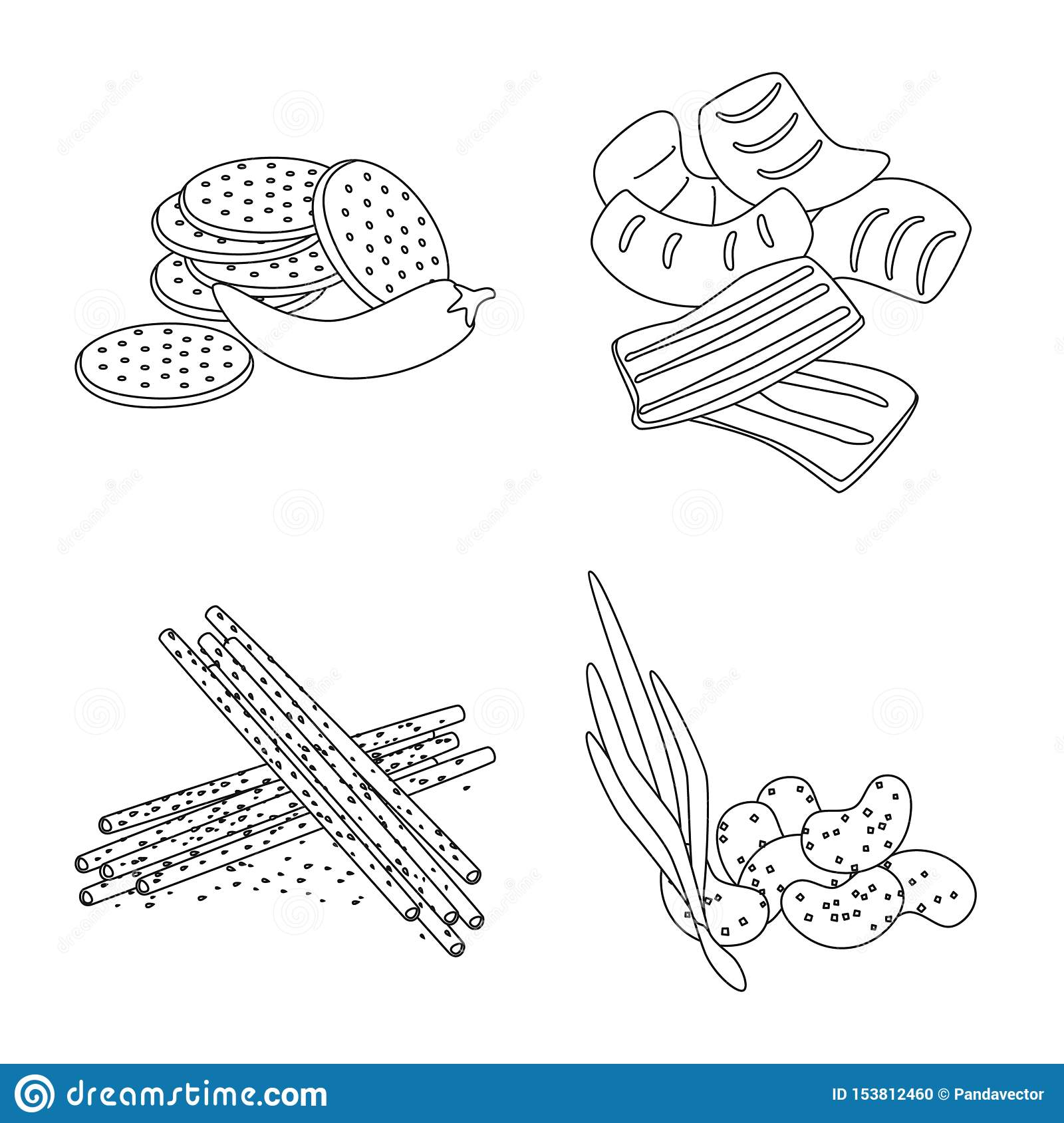 Isolated object of taste and crunchy icon. Set of taste and cooking stock vector illustration.