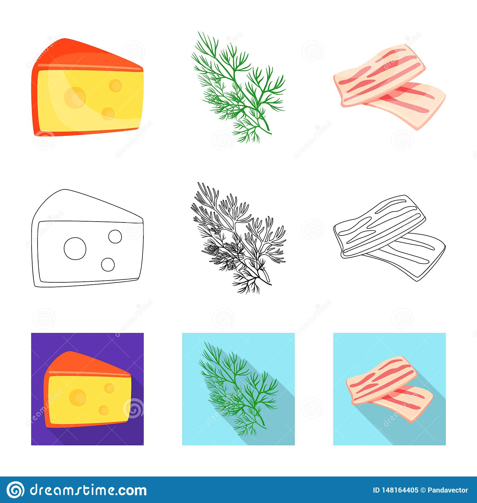 Vector illustration of taste and product icon. Collection of taste and cooking vector icon for stock.
