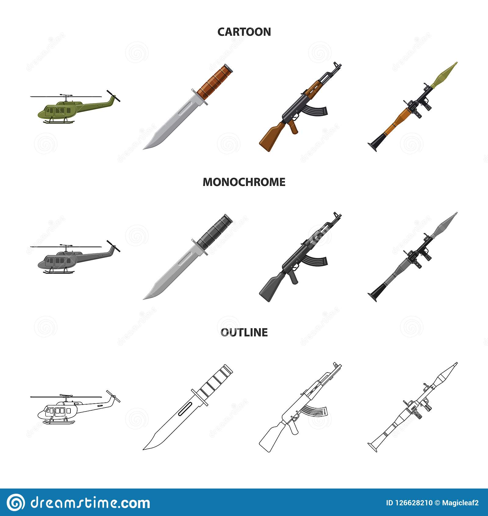 Isolated Object Of Weapon And Gun Symbol Set Of Weapon And Army