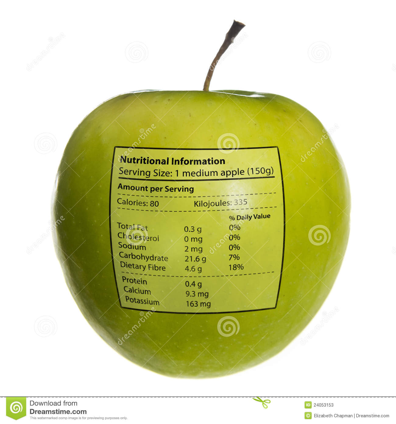 Isolated objects: apple with