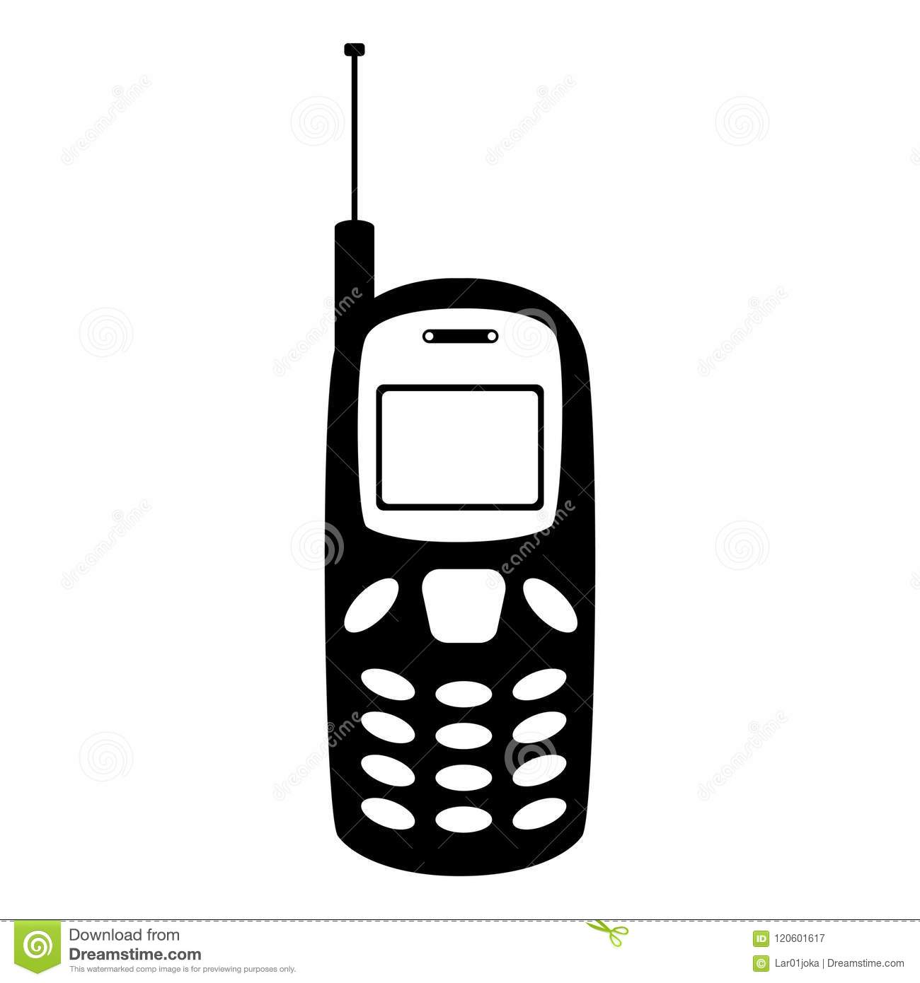 Isolated Old Cellphone Icon Stock Vector Illustration Of Keypad Electronically Designed Design