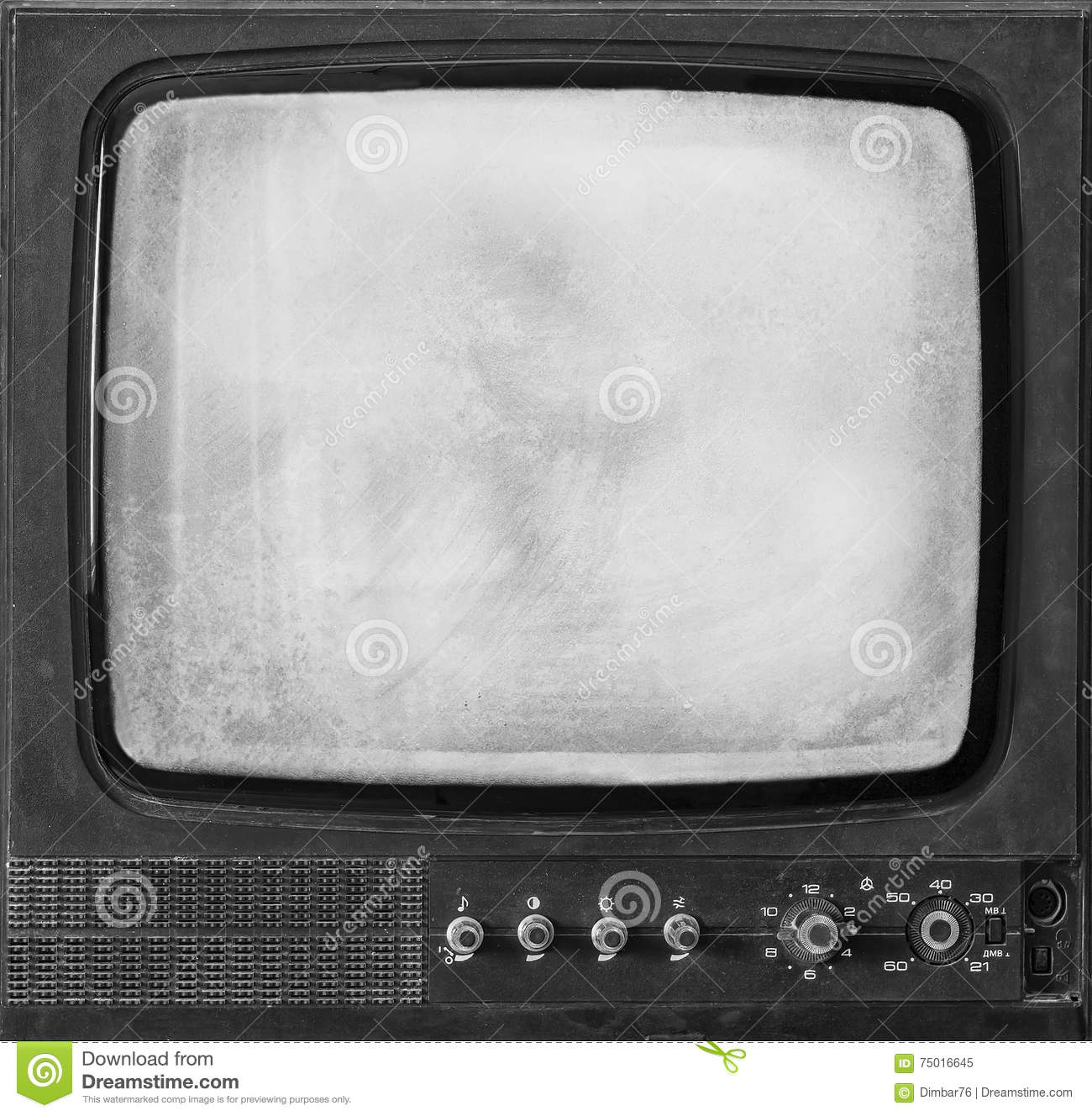 The isolated old retro TV stock image. Image of channel - 75016645