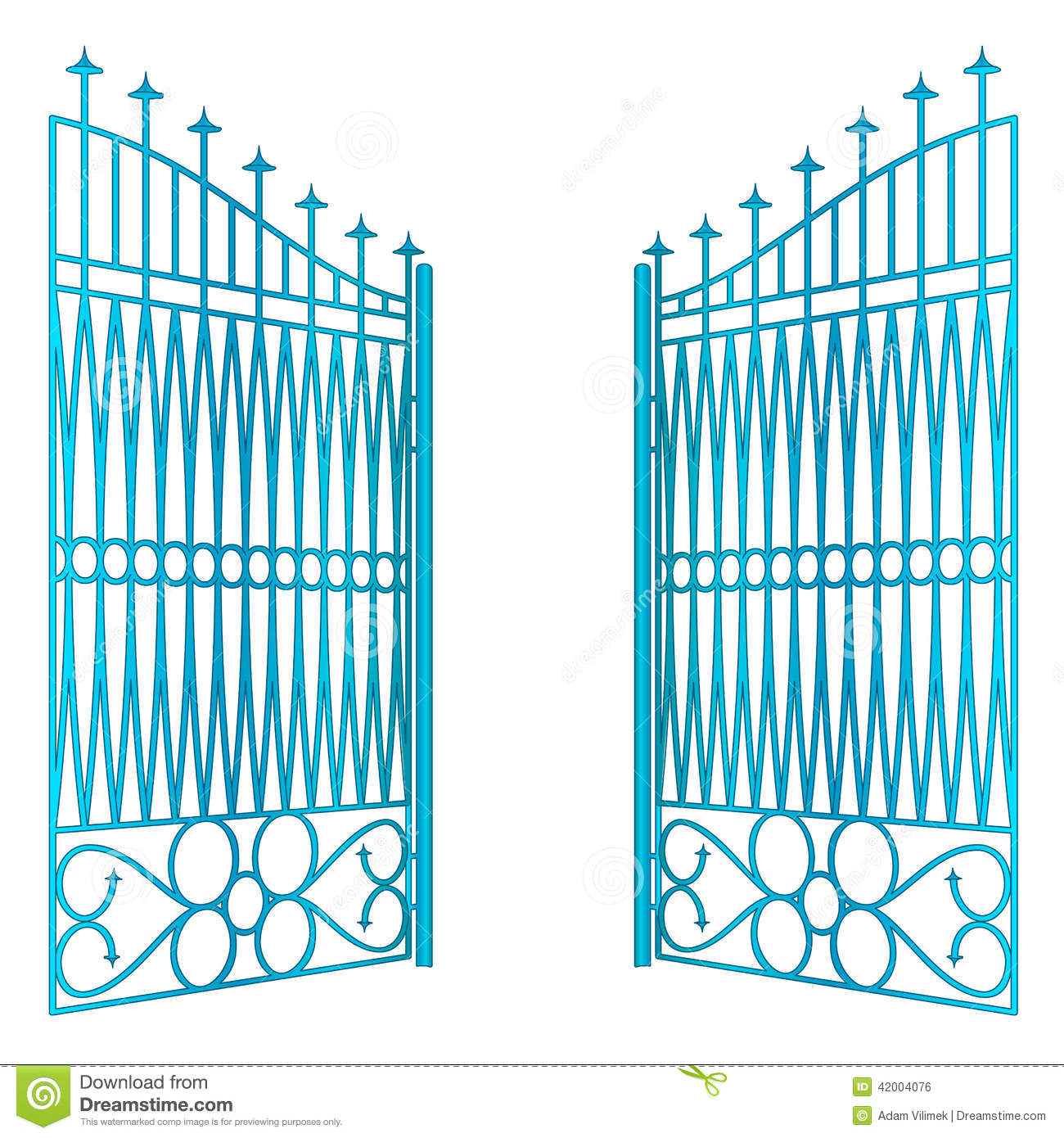 Isolated open blue iron gate fence vector stock