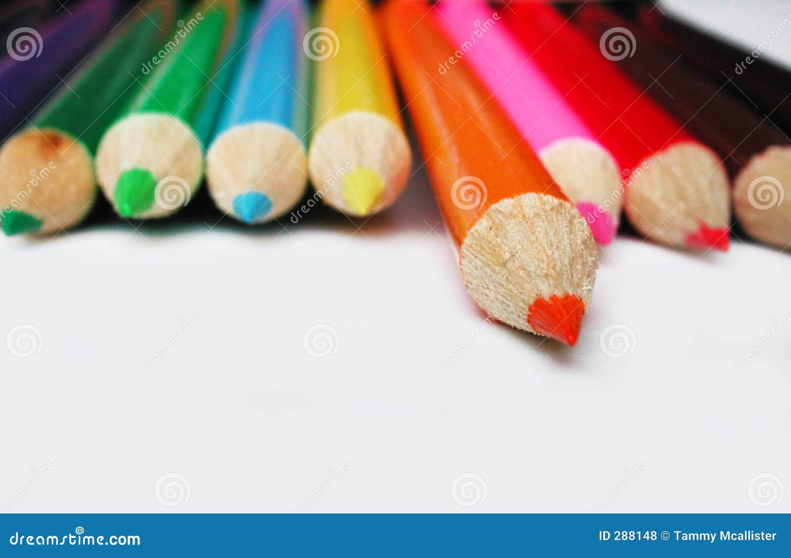 Isolated orange pencil crayon