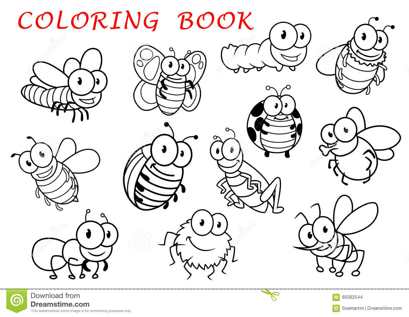 isolated outline insect animals characters fly dragonfly butterfly mosquito caterpillar bee spider wasp 66382544
