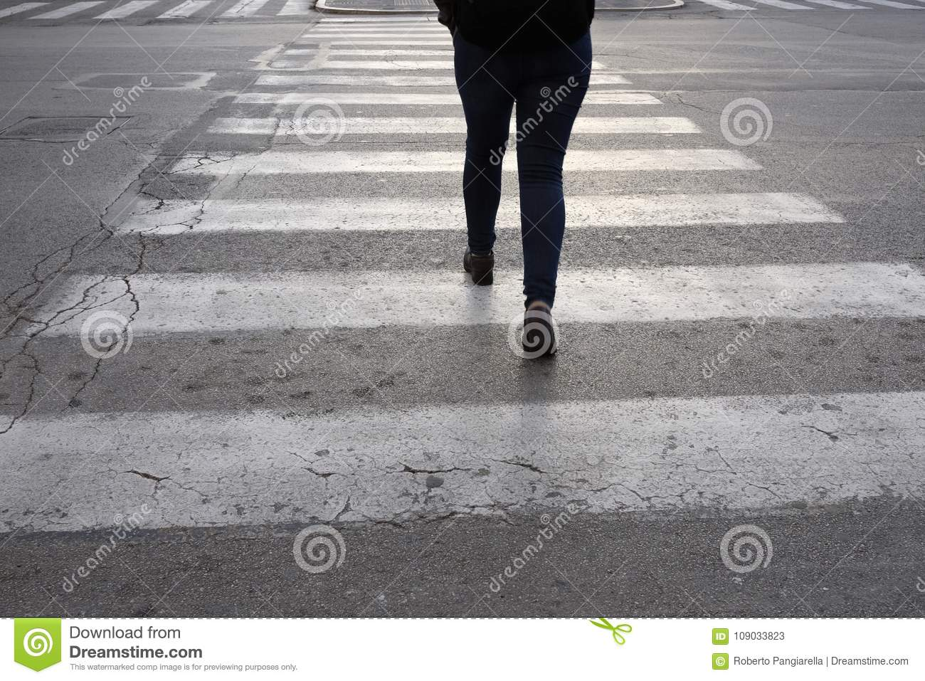 Isolated person on the crosswalk