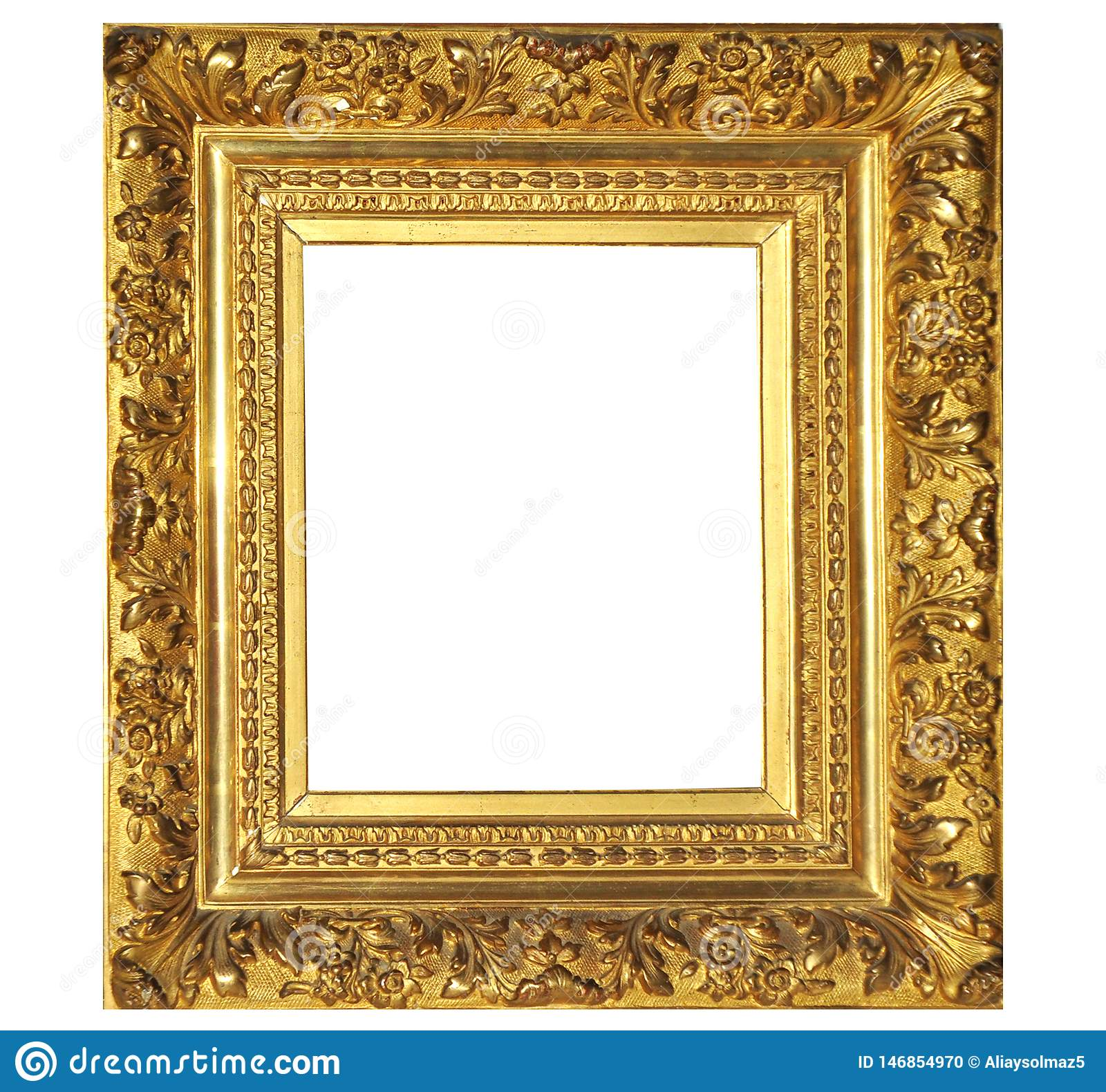 Isolated Photo Frame, Golden Antique Photo Frame. Painting Frame
