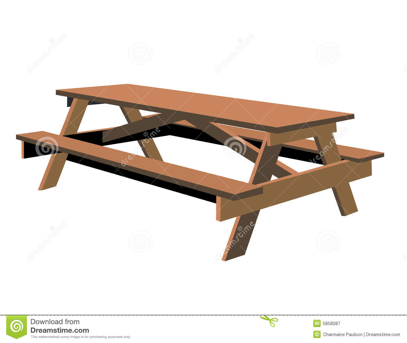 Isolated Picnic Table is hand drawn original artwork. The vector file ...