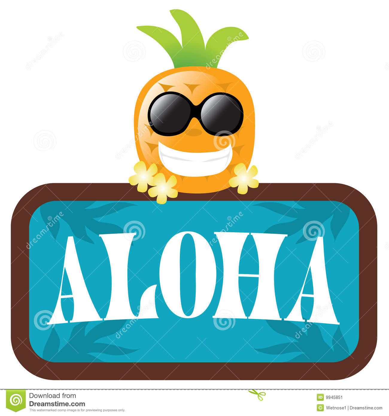 Isolated pineapple with aloha sign stock image image 9945851