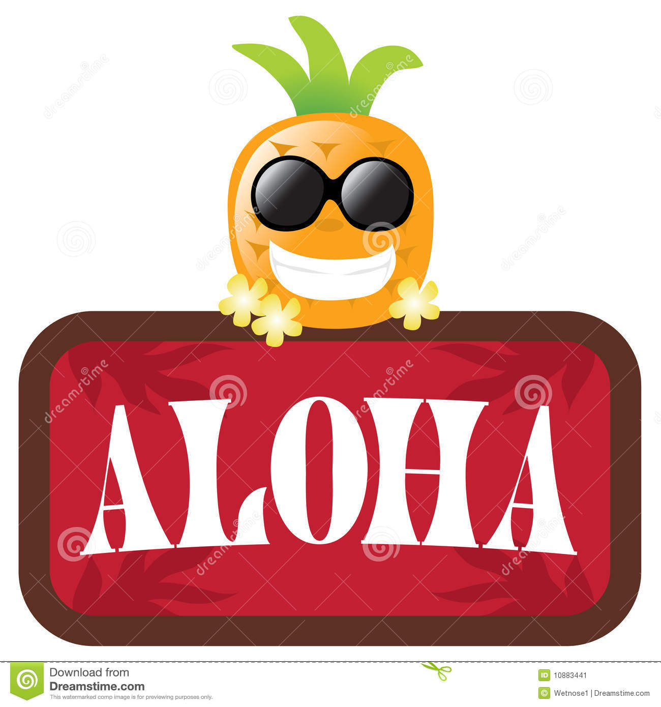 Isolated Pineapple With Red Aloha Sign Stock Vector ...