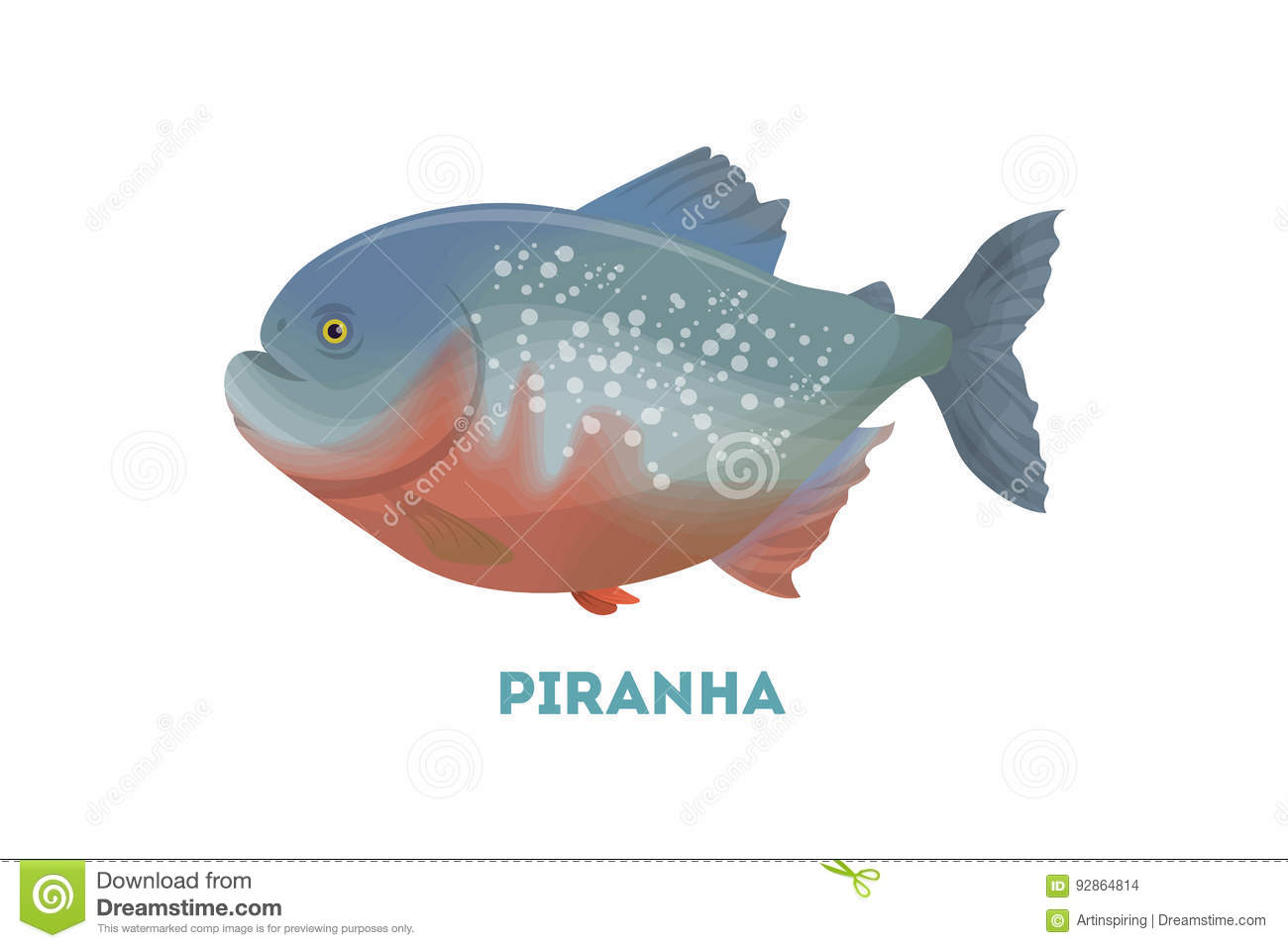 Piranha cartoons illustrations vector stock images for Piranha fish finder