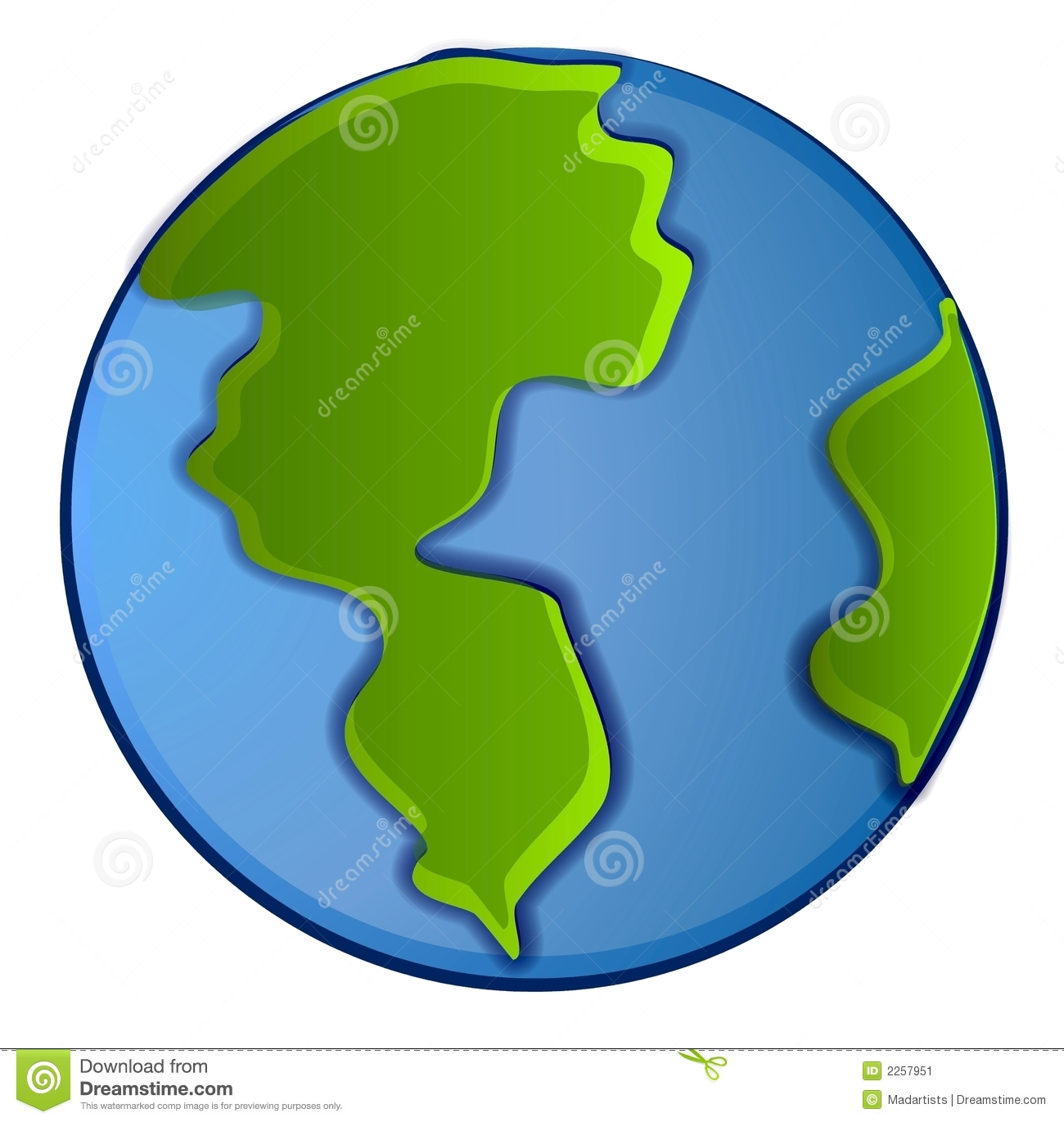 An illustration of the planet earth in green and blue colors isolated ...