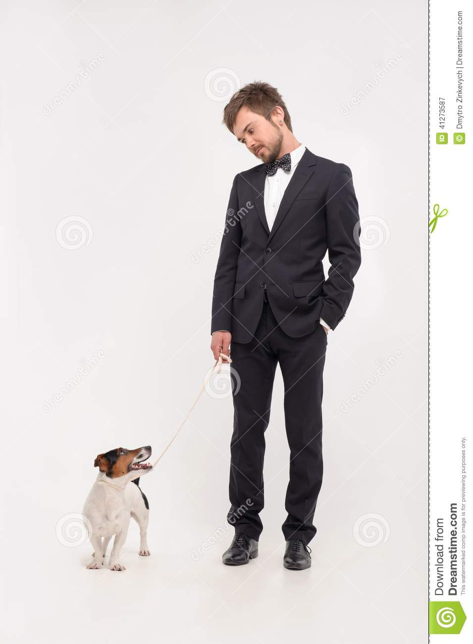 Man On Dog : Isolated portrait of owner with his dog stock photo