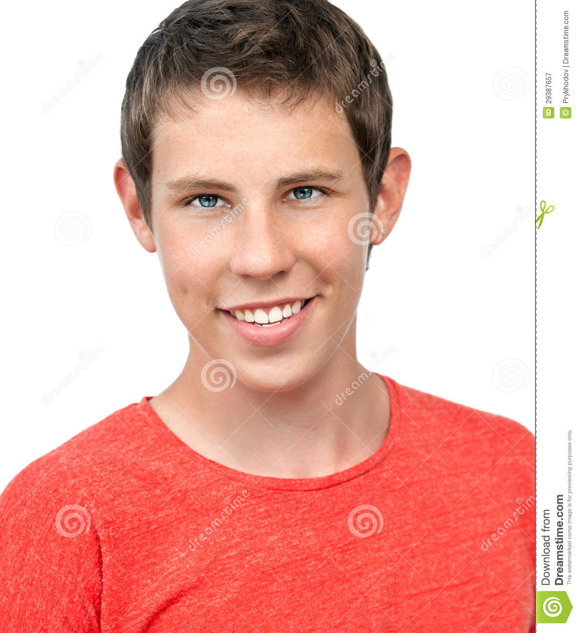 Isolated portrait for a young boy smiling