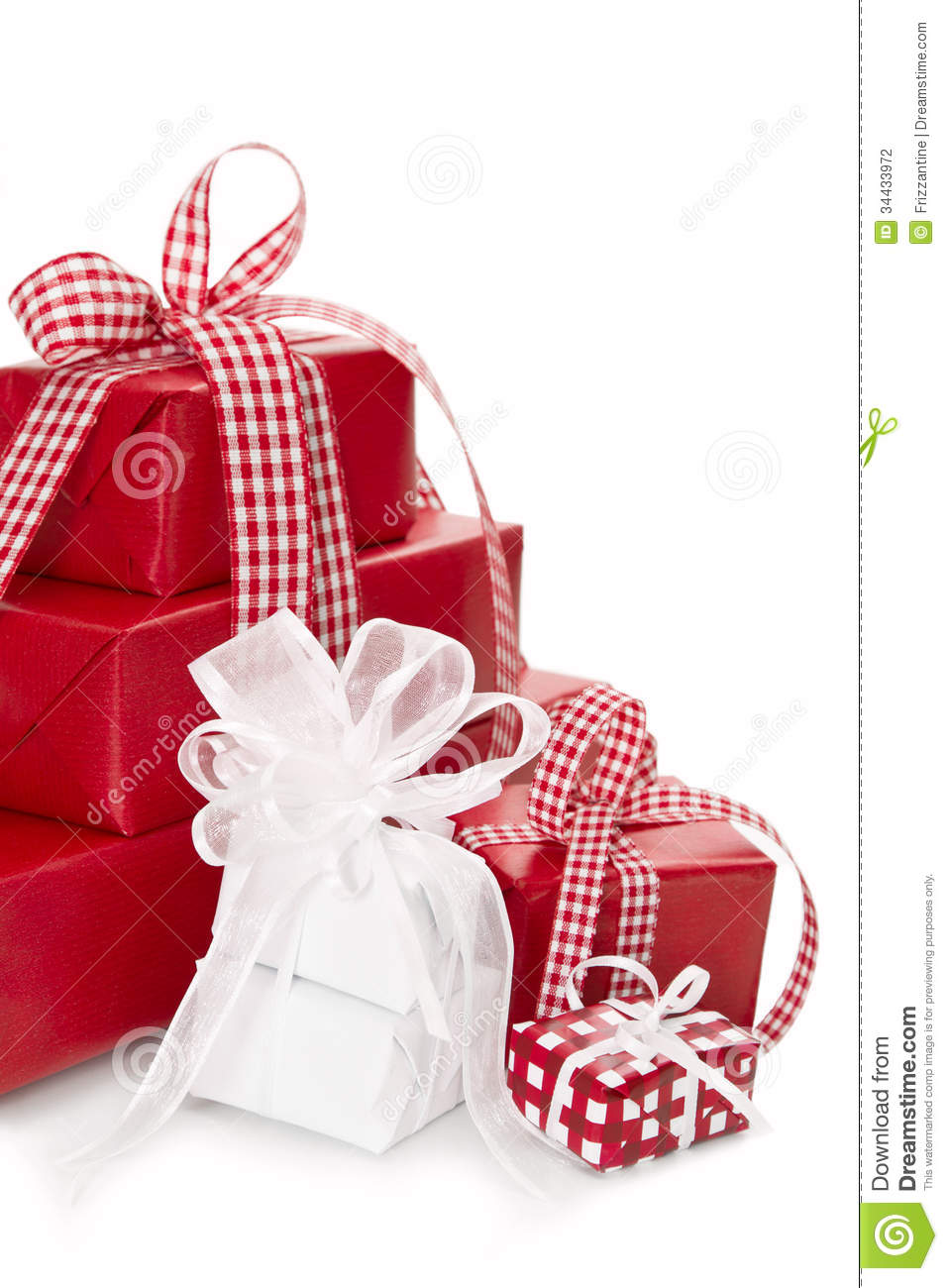 Isolated Presents Wrapped In Red And White Paper For