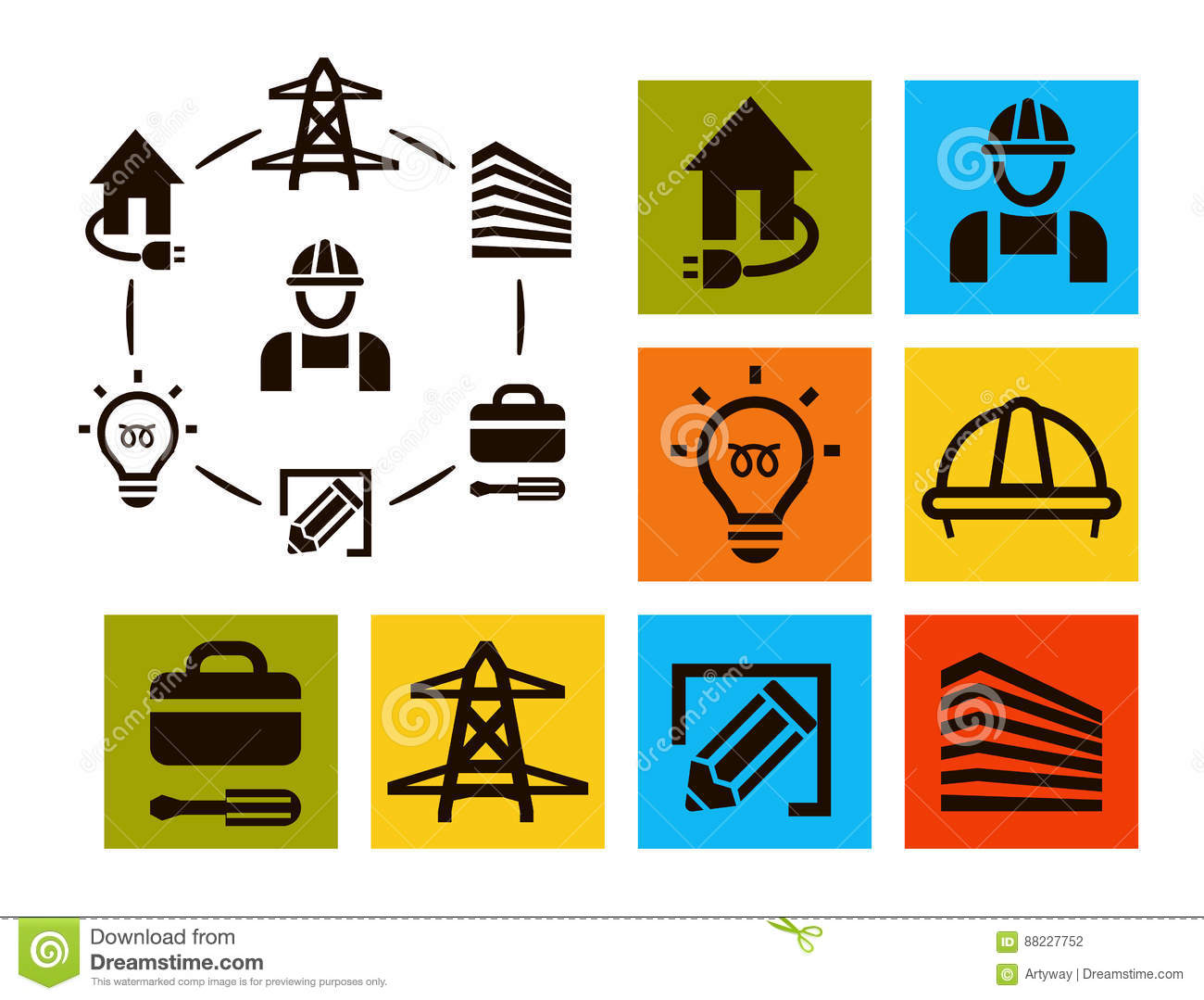 electrical repair electrician symbol icons set vector wiring light bulbs in series wiring a light bulb socket