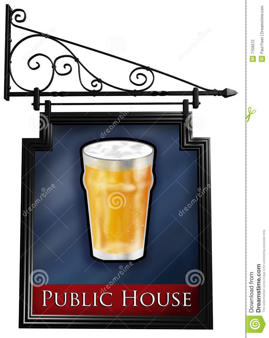 Isolated Pub Sign Stock Photography - Image: 7159572