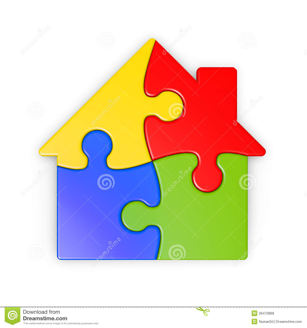 Casita House Plans Isolated Puzzle Of A House With Clipping Path Royalty Free