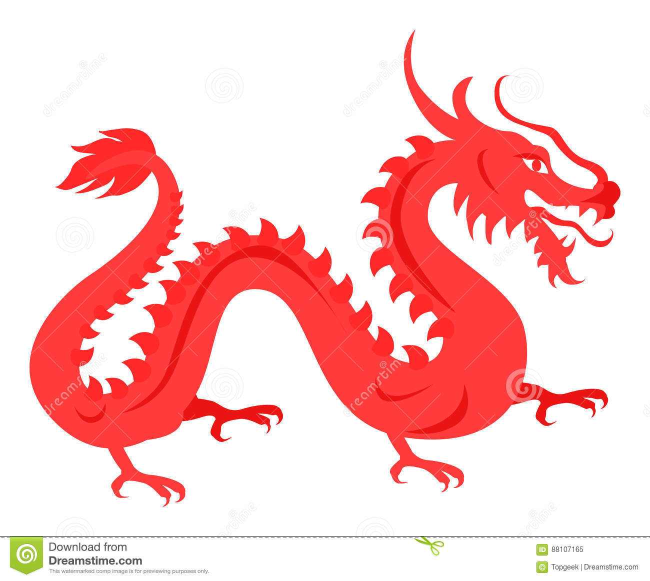 Isolated Red Dragon On White Chinese Symbol Stock Vector