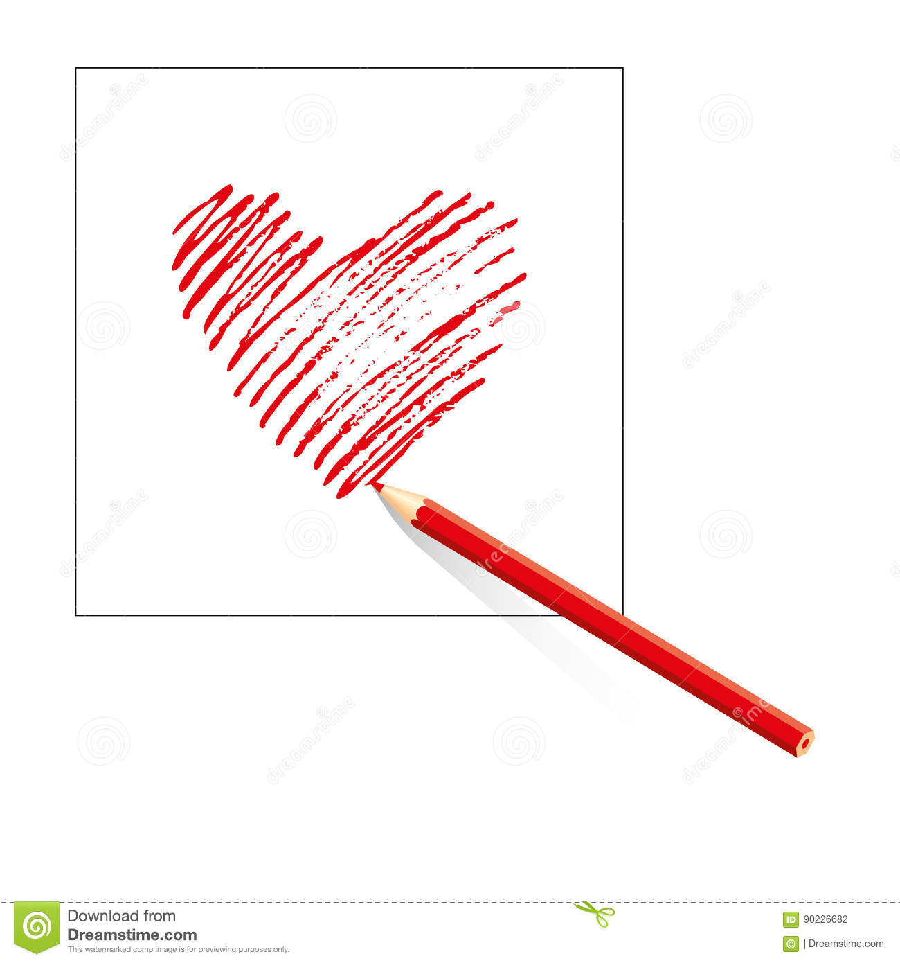 isolated red heart drawn by colored pencil on sheet of white paper