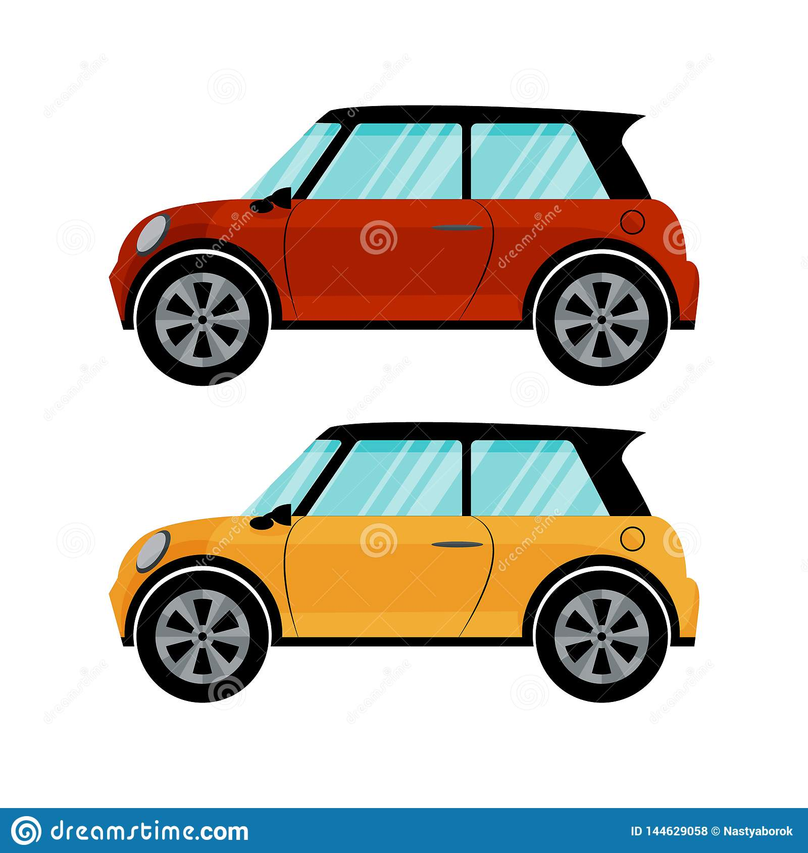 Isolated red and yellow cars in retro style on white background. Flat vector design