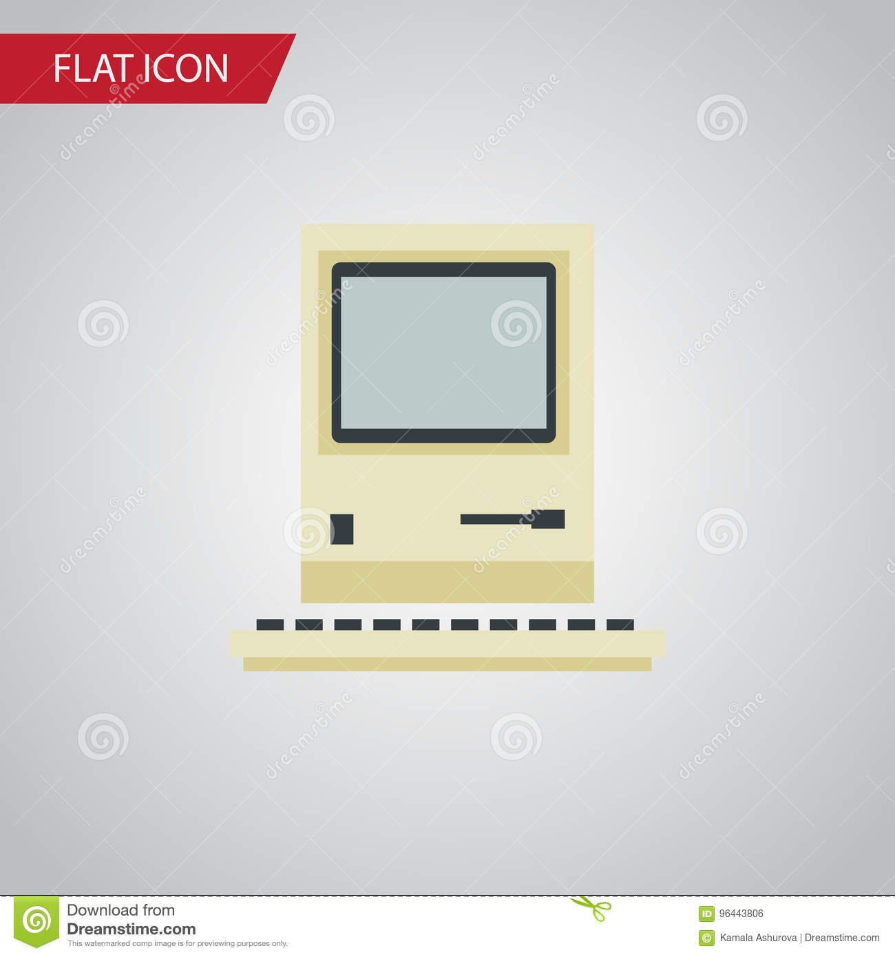 Isolated Retro Notebook Flat Icon  Computing Vector Element Can Be