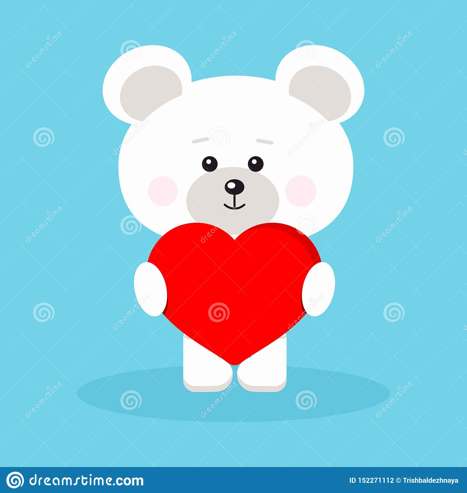 Isolated romantic cute and sweet baby polar bear with red heart