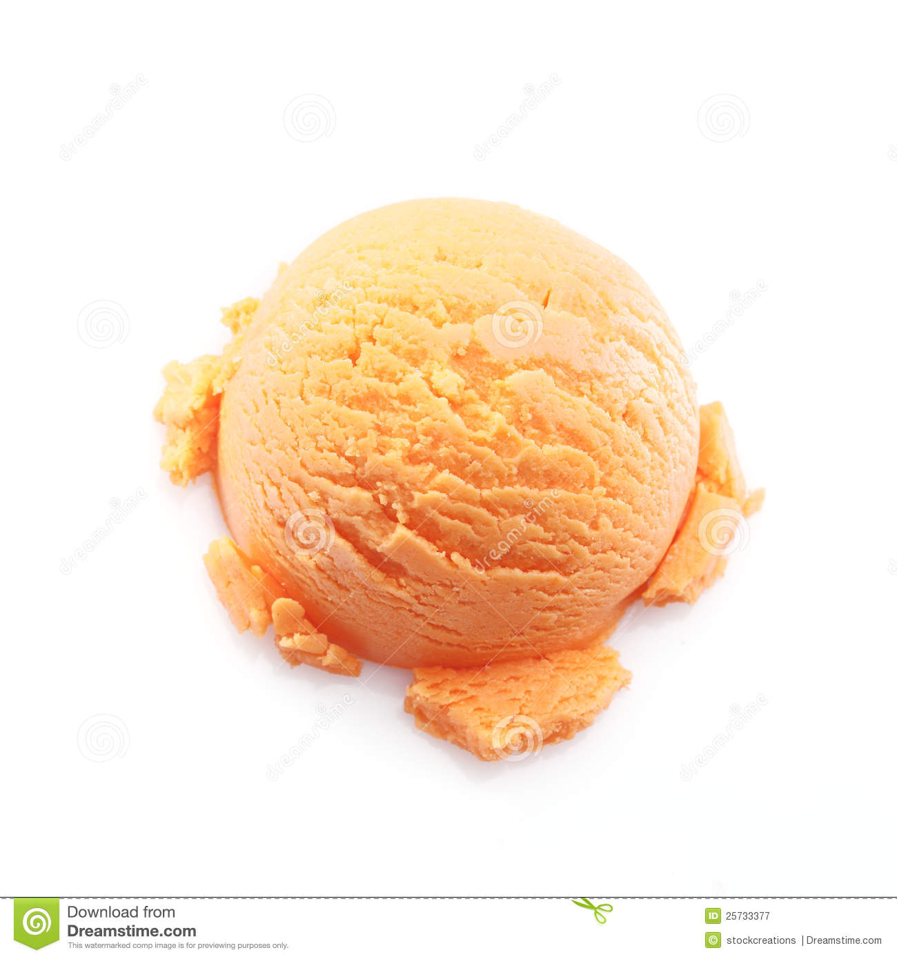 Isolated scoop of mango ice cream