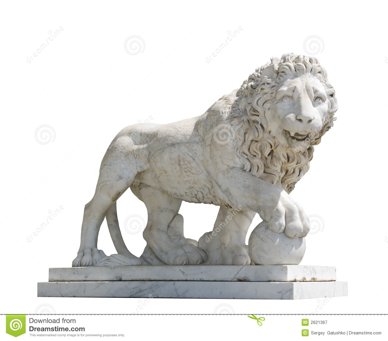 Isolated sculpture of a lion