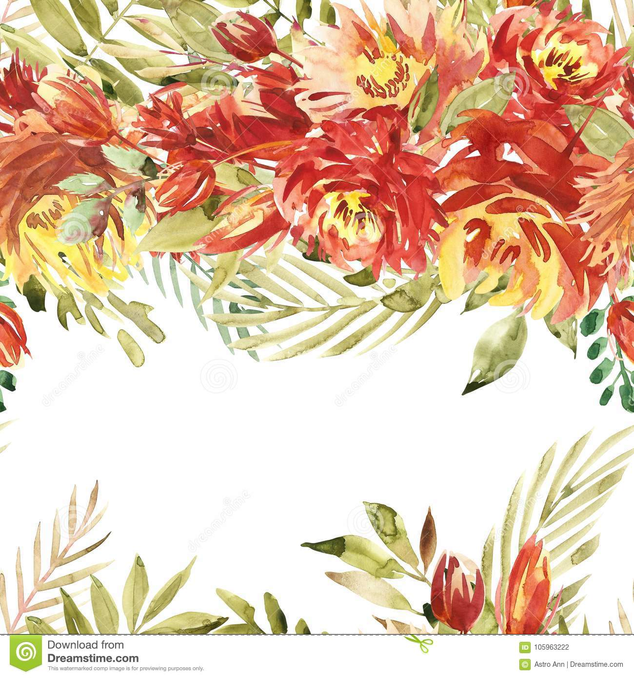 Isolated Seamless Border With Red Flowers, Leaves. Vintage ...