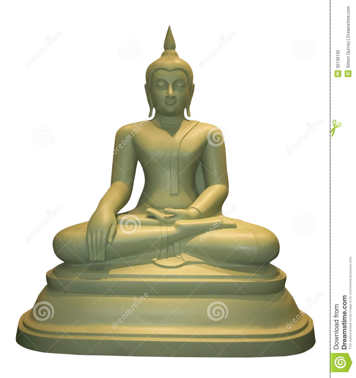 seated thai buddha statue white background stock image