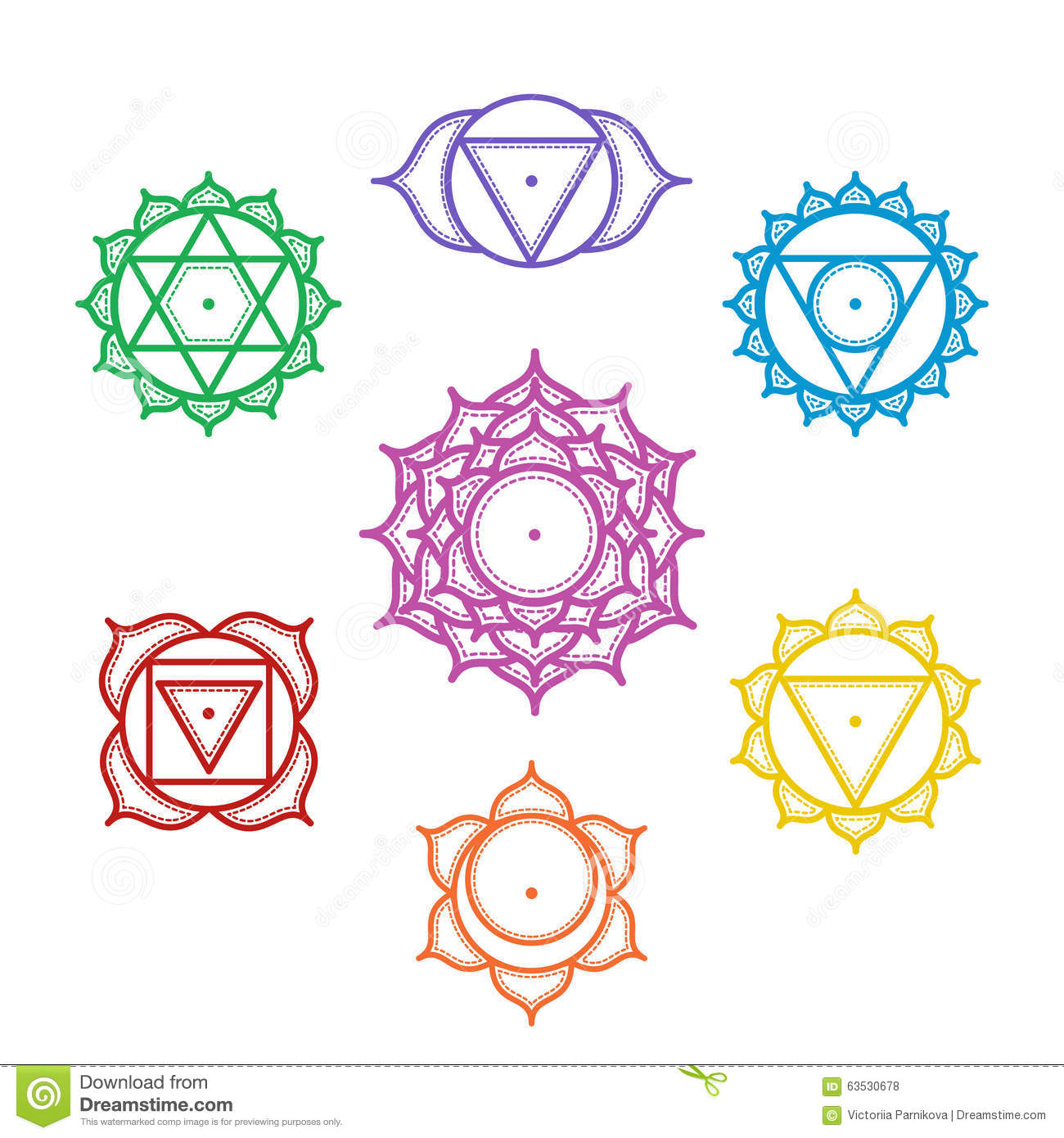 Free ornamental mandala vector download free vector art stock - Isolated Set Of Beautiful Indian Ornamental 7 Chakras