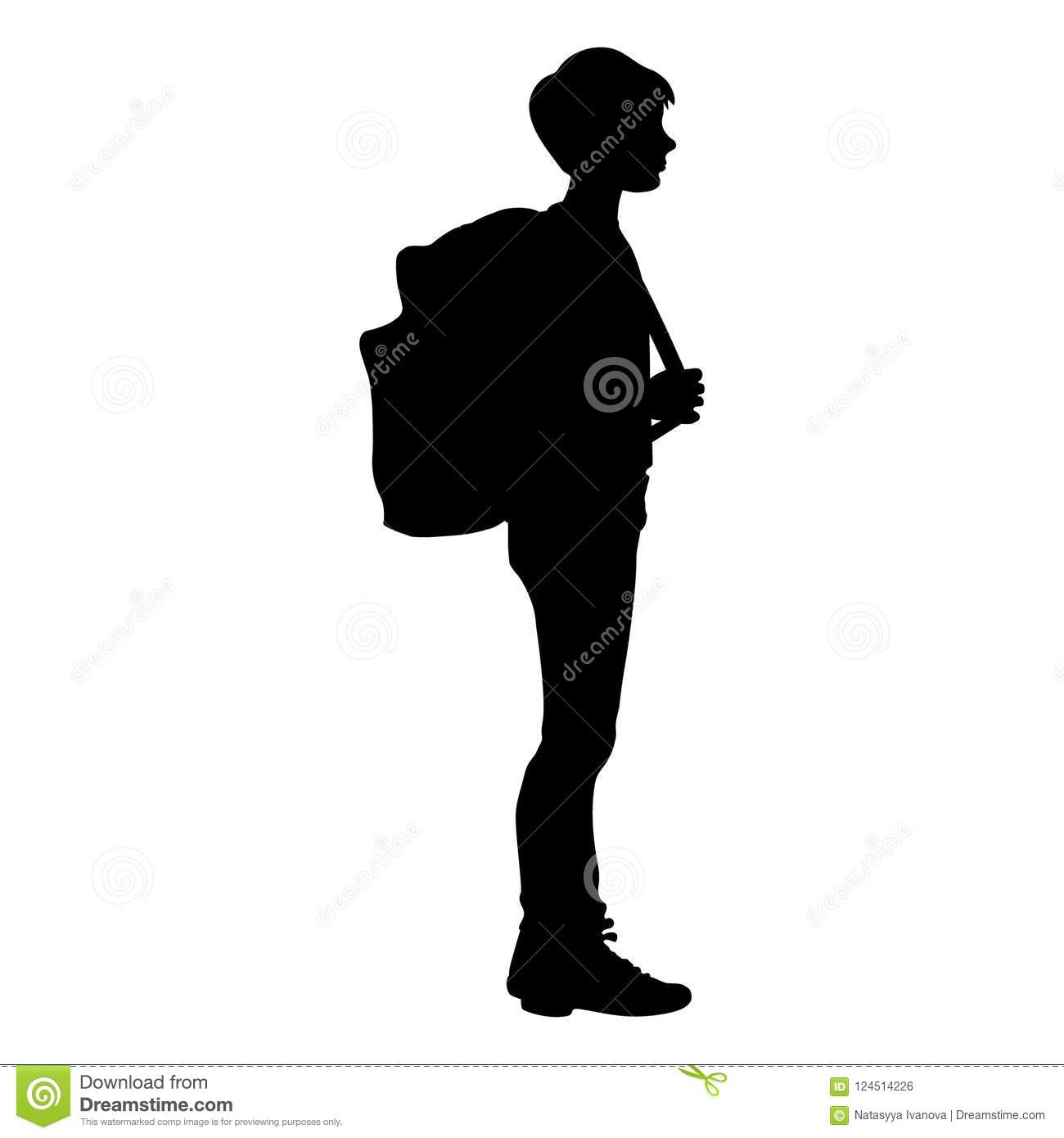 Isolated Silhouette Of A Boy Standing With A School Bag Stock Vector Illustration Of Stay Elementary 124514226 Are you searching for boy silhouette png images or vector? https www dreamstime com isolated silhouette boy standing school bag illustration image124514226