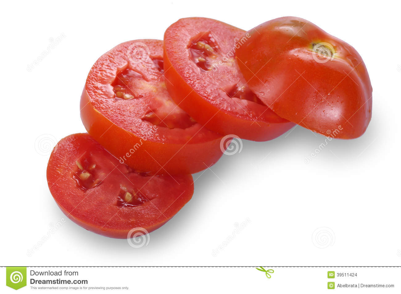 Isolated Slices of Tomato