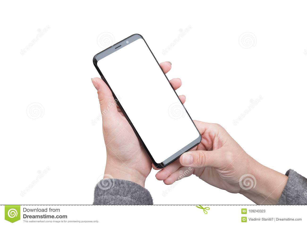 isolated smart phone in woman hands isolated screen for mockup