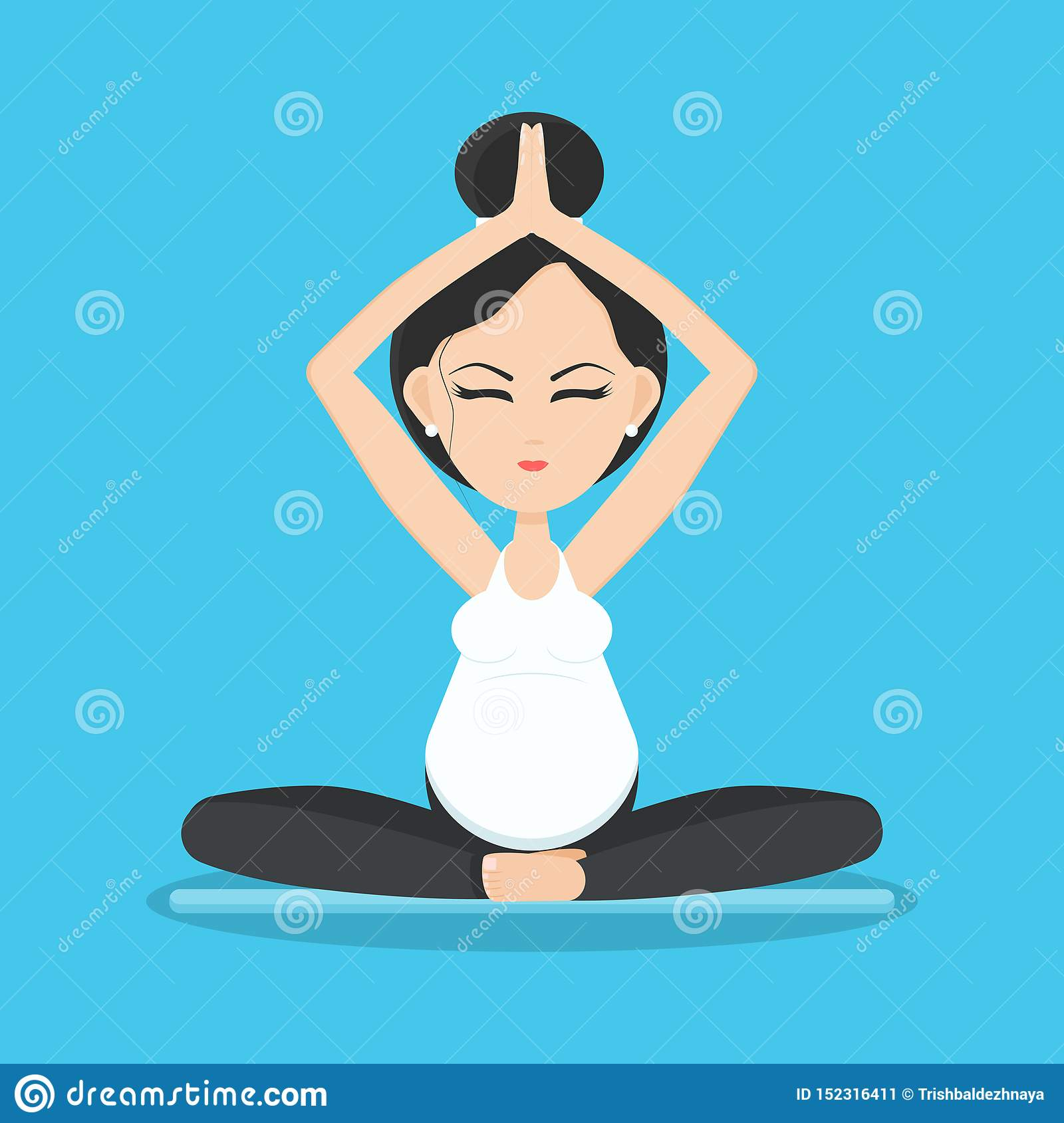 Isolated smiling pregnant woman meditating and relaxing in yoga pose on yoga mat
